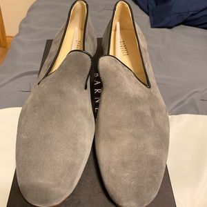 New Barney's New York Suede Gray Venetian Loafers